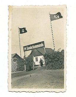 Gate at the Nazi death camp Sobibor in German-occupied Poland