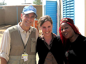 Fatma Samoura - UN official Fatma Samoura (right) with actor George Clooney and colleague Marie-Sophie Reck in Abéché, Chad (2008)