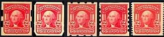 Series of 1902 (United States postage stamps) - Private perforations (L-R): Schermack, US Auto Vending, Brinkerhoff,   Mail-O-Meter, International Vending Machine