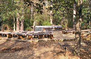 Georgia Southern Botanical Garden - The Kennedy Outdoor Classroom with its stage in the woodland trail area of the Georgia Southern Botanical Garden.