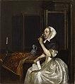 Gerard ter Borch (1617−1681)- Lady seated holding a Wineglass - Viiniä juova nainen kirje kädessään - Vindrickande kvinna (29358971172).jpg