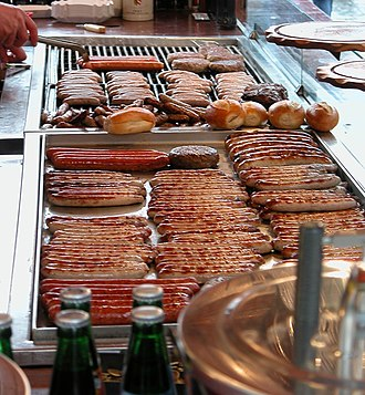 Bratwurst - A variety of Bratwürste on a stand at the Hauptmarkt in Nuremberg