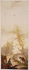 Kamerbehangsel met landschap met rustende soldaten bij een brug