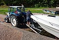 Getting the boat out of the water 5 - Hauling the trailer with the boat up from the boat ramp 2.jpg