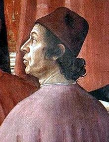 Demetrios Chalkokondyles,[1][2][3][4][5] detail of Zachariah in the Temple by Domenico Ghirlandaio. Fresco. Santa Maria Novella, Cappella Tornabuoni, Florence, Italy. 1486–1490.
