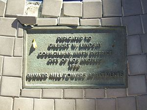 Gilbert W. Lindsay - Plaque honoring Lindsay at Bunker Hill Towers