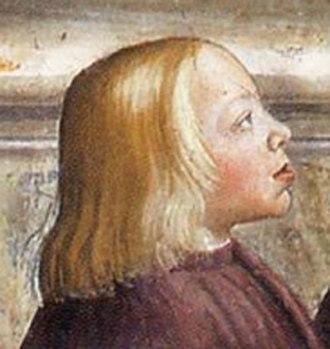 Gentile de' Becchi - Giovanni, Pope Leo X, as a child, in a fresco by Domenico Ghirlandaio