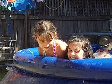 Girls playing in a small pool