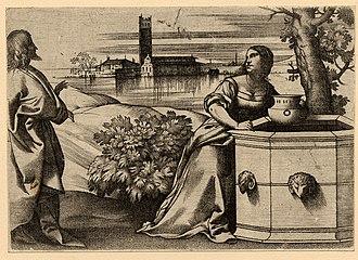 Giulio Campagnola - Christ with the Woman of Samaria