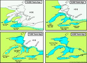 Late Glacial - The Great Lakes are estimated to have been formed at the end of the last glacial period (about 10,000 years ago), when the Laurentide ice sheet receded