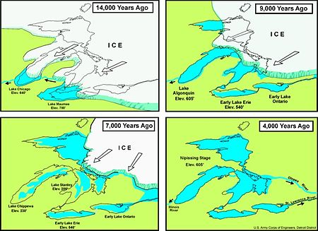 Image result for coastline of Lake Erie after glacier