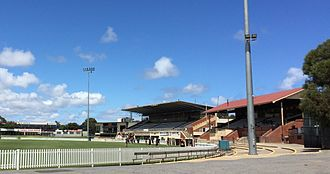 Glenelg Oval - The HY Sparkes Stand (foreground) and Edward Rix Stand (background) at Glenelg Oval