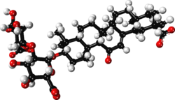 Glycyrrhizin zwitterion ball-and-stick xtal 2009.png