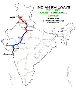 Golden Temple Mail Express (Amritsar - Mumbai) Route map.jpg