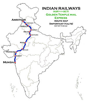 Golden Temple Mail - Image: Golden Temple Mail Express (Amritsar Mumbai) Route map