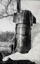 Un gran cilindro metálico de pie en un campo junto a un árbol.