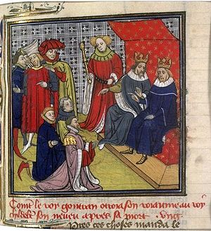 Guntram - St. King Gontrand and Childebert II, from the Grandes Chroniques de France.