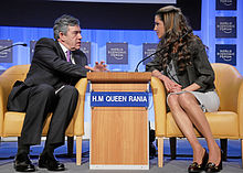 Gordon Brown and Queen Rania of Jordan at World Economic Forum in Davos