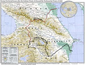 Qajar dynasty - Map showing Irans's northwestern borders in the 19th century, comprising Eastern Georgia, Dagestan, Armenia, and Azerbaijan, before being forced to cede the territories to Imperial Russia per the two Russo-Persian Wars of the 19th century.