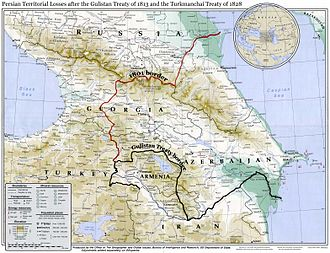 Fath-Ali Shah Qajar - Map showing Irans's northwestern borders in the 19th century, comprising Eastern Georgia, Dagestan, Armenia, and Azerbaijan, before being forced to cede the territories to Imperial Russia per the two Russo-Persian Wars of the 19th century.