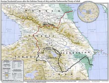 A map showing the 19th-century northwestern borders of Iran, comprising modern-day eastern Georgia, Dagestan, Armenia, and the Republic of Azerbaijan, before being ceded to the neighboring Russian Empire by the Russo-Iranian wars. Gulistan-Treaty.jpg