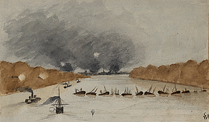 Watercolor drawing of gunboats advancing toward New Bern, seen from a point above the middle of the Neuse River. New Bern is marked by three clouds of smoke seen in the distance, the presumed result of destruction of property to keep it from the enemy. A dozen hulks form a barrier across the river, with a gap on the left side of the drawing; two shore-based guns near the gap are firing on the fleet. Two Federal ships have already passed the gap, a third is about to pass, and a fourth is approaching.