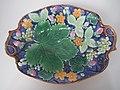 Gustafsberg Dessert service platter, coloured glazes, c. 1880, naturalistic theme, Sweden.jpg
