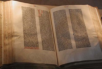 Historical document - A Gutenberg Bible printed in the 1450's on display at the US Library of Congress