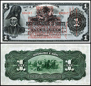Jean-Jacques Dessalines - Dessalines depicted on a 1916 Banque Nationale de la Republique 1 gourde note (1916)