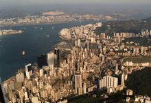 A sky view of Hong Kong Island