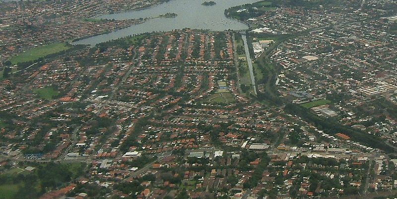 Aerial view of Haberfield in Sydney
