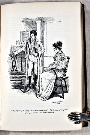 """'My regard for Hartfield is most warm--'. He stopped again, rose again, and seemed quite embarrassed."" - Emma misinterprets Frank Churchill. Austen, Jane. Emma. London: George Allen, 1898."