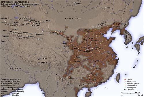 Han-Dynastie-Karte.  1 n. Chr