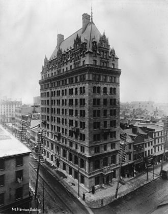 Cope and Stewardson - Alfred C. Harrison Building, Philadelphia (1894-95, demolished 1969).