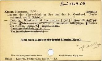 Harvard Library - Image: Harvard College Library Catalog Card Swi