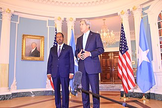 Politics of Somalia - President of Somalia Hassan Sheikh Mohamud with U.S. Secretary of State John Kerry at the State Department (September 2013).