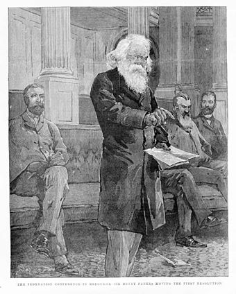 Sir Henry Parkes delivering the first resolution at the federation conference in Melbourne, 1 March 1890 HenryParkes Melbourne.jpg