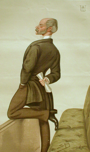 """Sir Henry Havelock-Allan, 1st Baronet - Gen Havelock-Allen in the House of Commons. The soldier who couldn't draw his sword"""" – a caricature of Havelock-Allan in the House of Commons, Leslie Ward, 1879."""