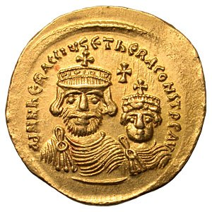 Theodore (brother of Heraclius) - Gold solidus of Heraclius with his son, Heraclius Constantine (Heraclonas)