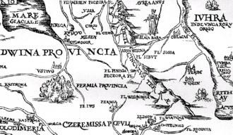 Khanate of Sibir - Tumen on Sigismund von Herberstein's map, published in 1549