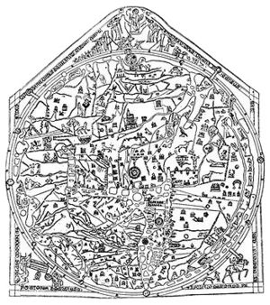History of Jerusalem during the Middle Ages - The Hereford Mappa Mundi, depicting Jerusalem at the center of the world.