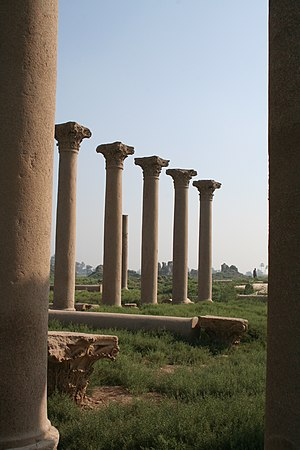 Ruins of the roman basilica at Hermopolis Magna