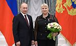 Hero of Labour of the Russian Federation T.Pokrovskaya and Vladimir Putin.jpeg