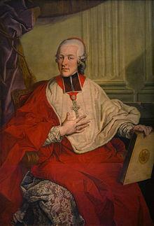 Colloredo als Fürsterzbischof, Ölbild von Johann M. Greiter, um 1780 (Quelle: Wikimedia)