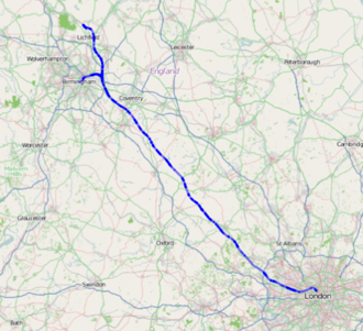 Brackley - Image: High Speed 2 route