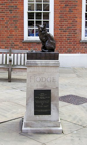 Hodge (cat) - Statue of Hodge in the courtyard outside Dr. Johnson's House, 17 Gough Square, London