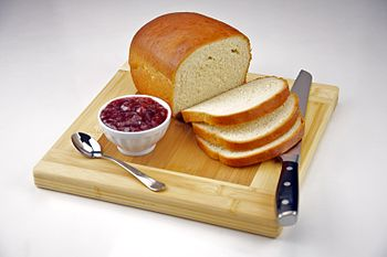 English: Homemade White Bread with Strawberry Jam.