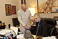 Honorary Marine Daran Wankum, seated, visits with Kansas Sen. Pat Roberts at his office in the National Capitol Building in Washington, D.C., June 13, 2013 130613-M-KS211-069.jpg