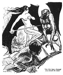A man lies on the ground as a naked female figure, wielding a sword, stands between him and a winged monster.