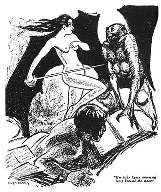"Conan the Barbarian (1982 film) - The death and supernatural return of Bêlit in ""Queen of the Black Coast"" (as illustrated by Hugh Rankin in Weird Tales) is mirrored by the fate of Valeria in the film."